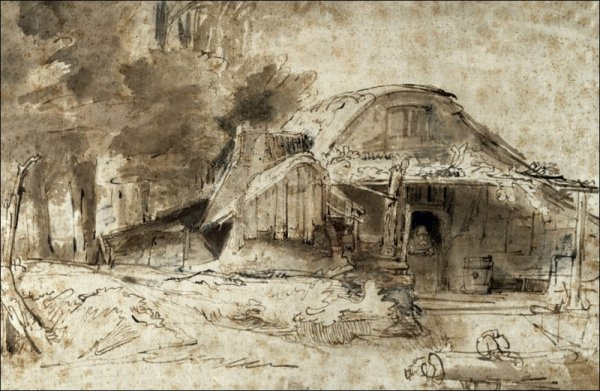 Cottage near the Entrance to a Wood, Rembrandt - plakat