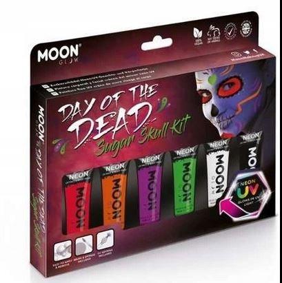Zestaw farb do twarzy i ciała Skull Neon UV