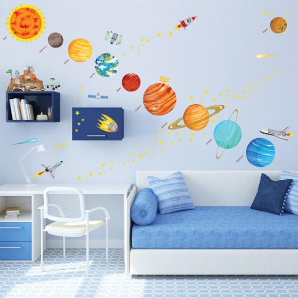 Naklejki układ słoneczny - planety i gwiazdki - Duży