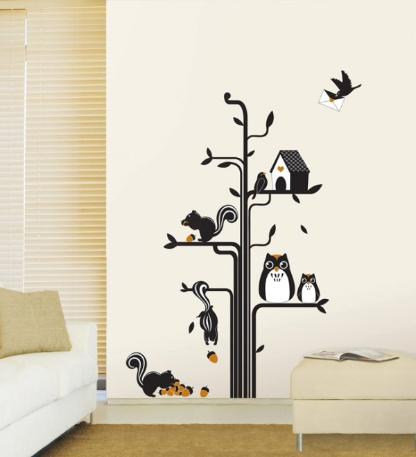 Drzewo sowy i wiewiórki
