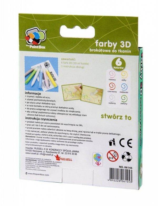Brokatowe farby 3D do tkanin x6