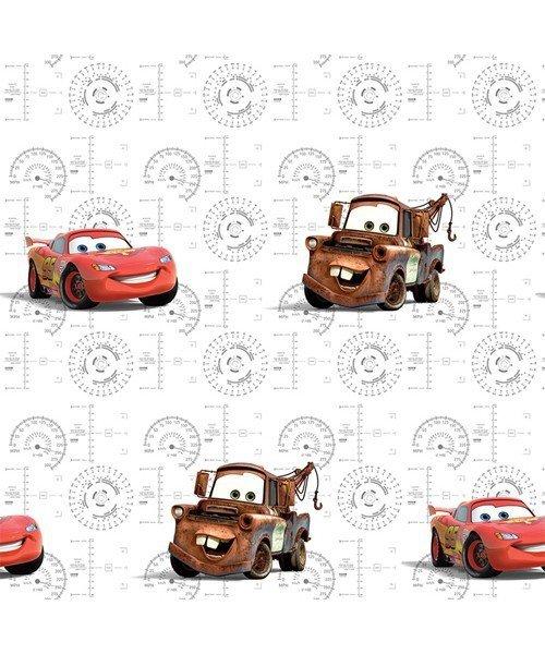 Tapeta Disney Cars Auta w rolce biała na flizelinie Zegary