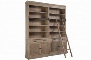 Biblioteka drewniana z drabinką