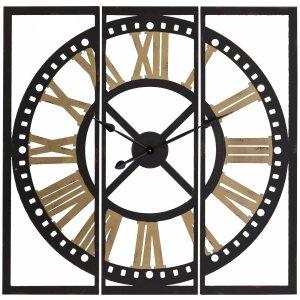 Zegar industrialny czarno biały miedź