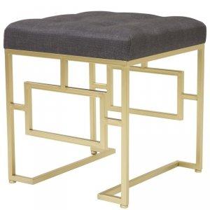 Złote siedzisko wyściełane puf pufa szara