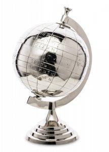Globus metalowy srebrny