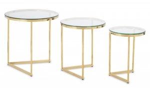 Komplet złotych stolików pomocniczych 3 sztuki jasny blat