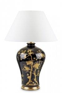 Lampa bardzo wysoka czarno złota z kloszem białym ceramika płótno