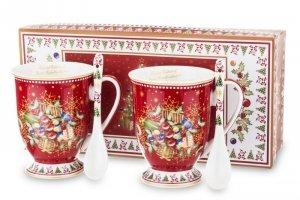 Malowane dekoracyjne dwa kubki z łyżeczkami