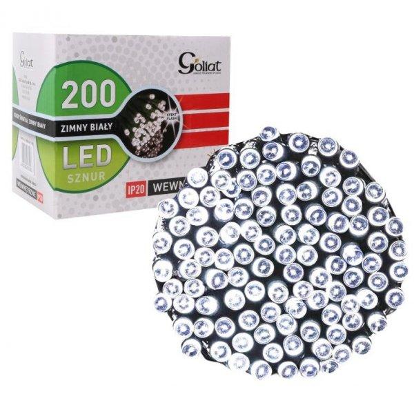 LAMPKI CHOINKOWE 200 LED DŁUGI SZNUR BIAŁE