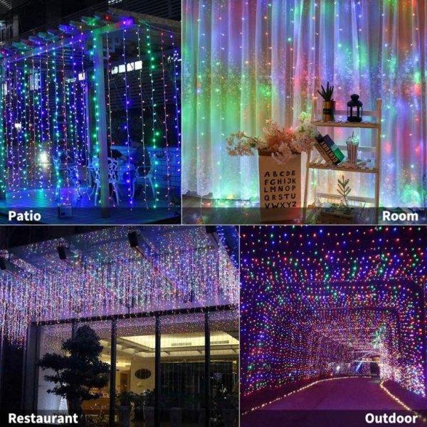 KURTYNA SIATKA ŚWIETLNA 100 LAMPEK MULTIKOLOR