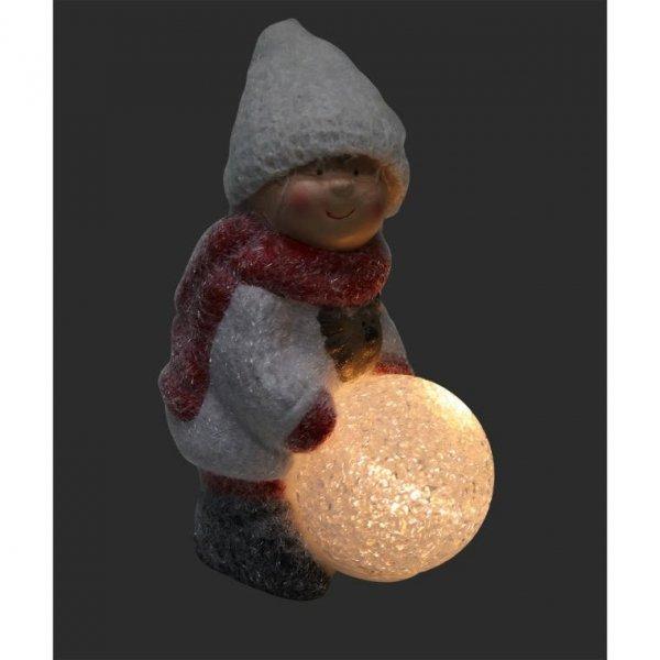 FIGURKA CERAMICZNA Z LED CHŁOPIEC Z KULĄ 15 CM