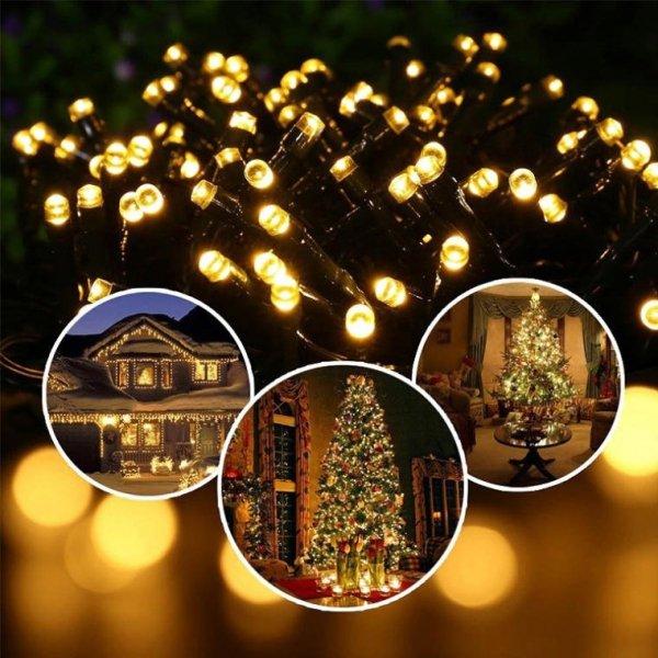 LAMPKI 200 LED ZEWNĘTRZNE ZIMNE BIAŁE OŚWIETLENIE CHOINKOWE