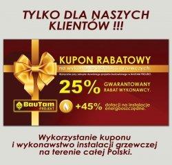 KUPON RABATOWY - 25% ZNIŻKI NA WYKONANIE INSTALACJI GRZEWCZEJ
