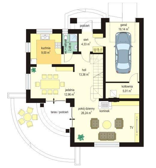 Projekt domu Elka pow.netto 145,09 m2