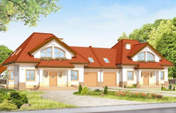 Projekt domu Dom na medal - bliźniak pow.netto 173,3 m2