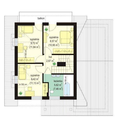 Projekt domu Alicja pow.netto 96,61 m2