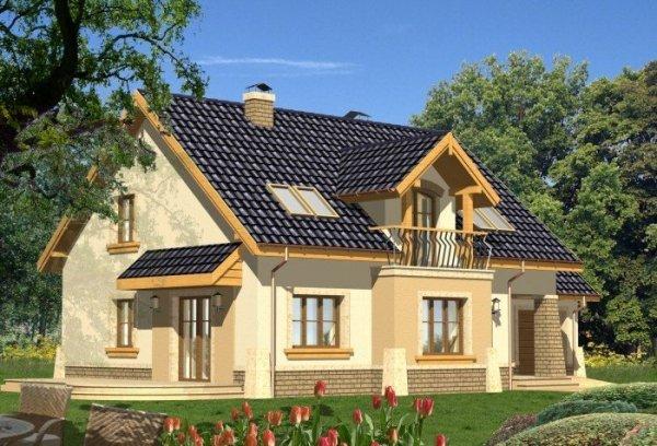 Projekt domu AKWAMARYN z garażem 1-stanowiskowym