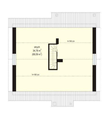 Projekt domu Kajtek pow.netto 69,14 m2