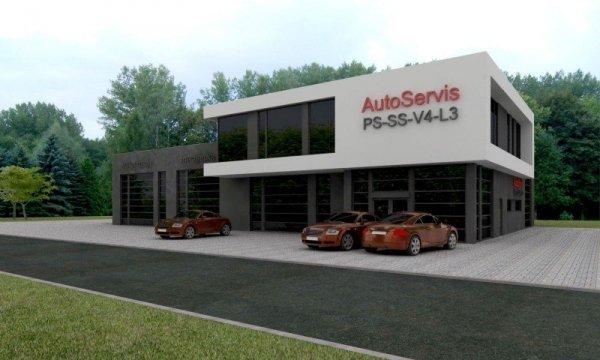 Projekt warsztatu samochodowego wraz ze stacją kontroli pojazdów TIR PS-SS-V4-L3 pow. 735.00 m2