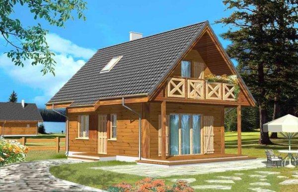 Projekt domu Sosenka drewniana pow.netto 53,4 m2