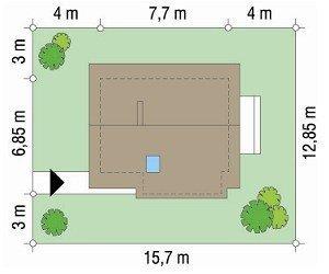 Projekt domu Francik pow.netto 52,51 m2
