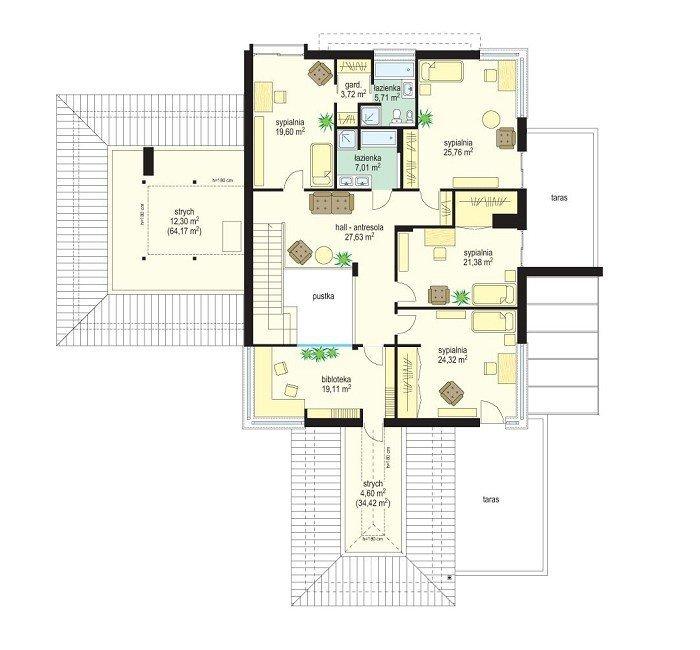 Projekt domu Prestiżowy pow.netto 433,49 m2