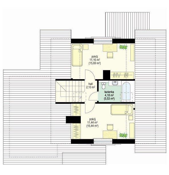 Projekt domu Pchełka z garażem pow.netto 88,54 m2