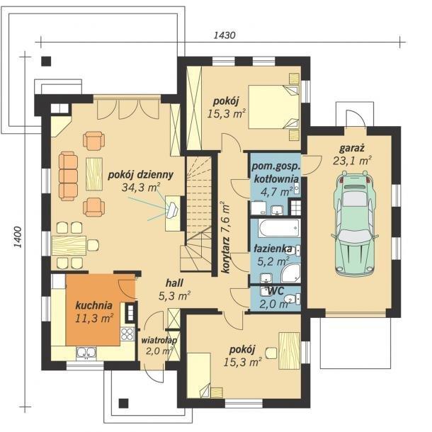 Projekt domu Rumcajs z garażem