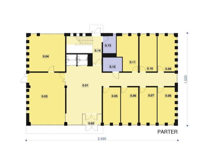 Projekt biurowca / hotelu PS-BL-380-30 o pow. 960,26 m2