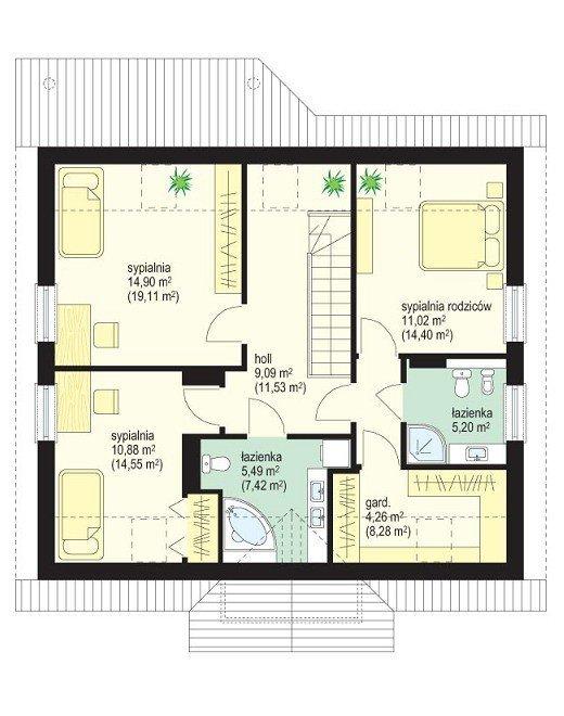 Projekt domu Na wspólnej pow.netto 146,7 m2