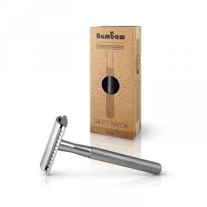 BAMBAW Wielorazowa maszynka do golenia + żyletka SREBRNA