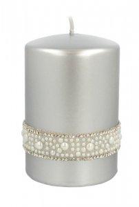 ARTMAN Świeca ozdobna Crystal Opal Pearl - walec mały srebrny 1szt