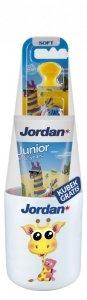 Jordan Junior Zestaw (Pasta do zębów dla dzieci 6-12 lat 50ml+szczoteczka+kubek) mix wzorów