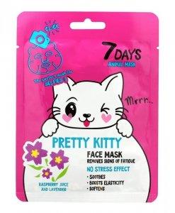 VILENTA 7 Days Animal Maska na twarz w płacie usuwająca oznaki zmęczenia Pretty Kitty 28g