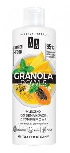 AA Granola Bowls Mleczko do demakijażu z tonikiem 2w1 Nutri - cera sucha i odwodniona 400ml