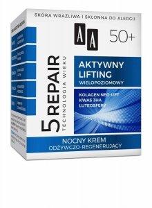 AA Technologia Wieku 5Repair 50+ Aktywny Lifting Krem odżywczo-regenerujący na noc  50ml