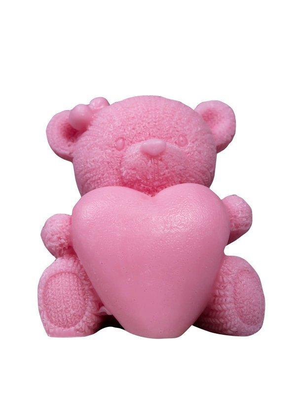 LaQ Mydełko glicerynowe Duży Miś z Sercem - różowy  110g