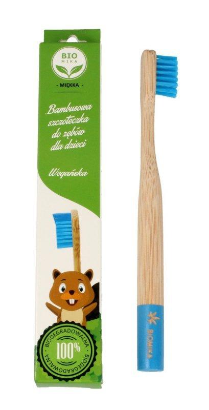 Biomika Szczoteczka do zębów bambusowa miękka dla dzieci - niebieskie włosie  1szt