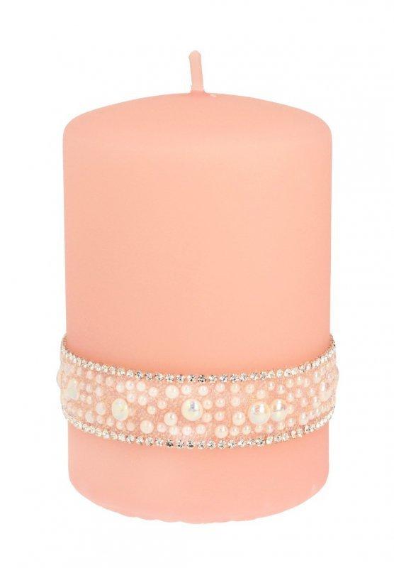 ARTMAN Świeca ozdobna Crystal Pearl rose gold - walec mały 1szt