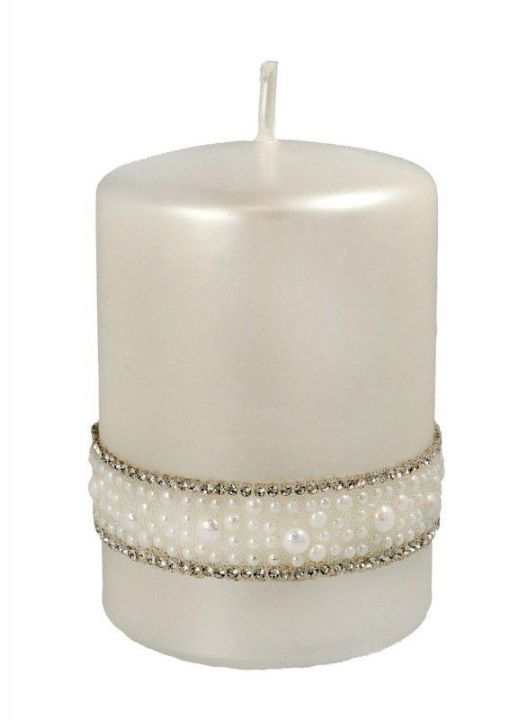 ARTMAN Świeca ozdobna Crystal Opal Pearl biała - walec mały 1szt