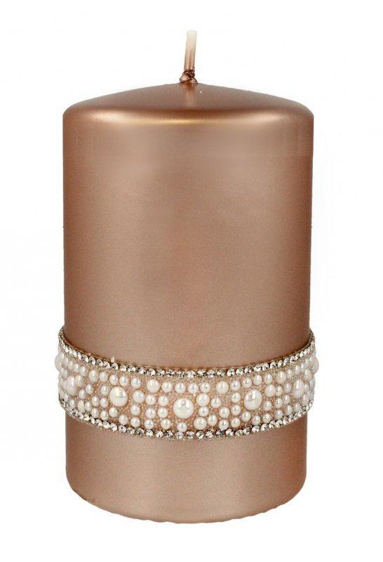 ARTMAN Świeca ozdobna Crystal Opal Pearl rose gold - walec mały 1szt