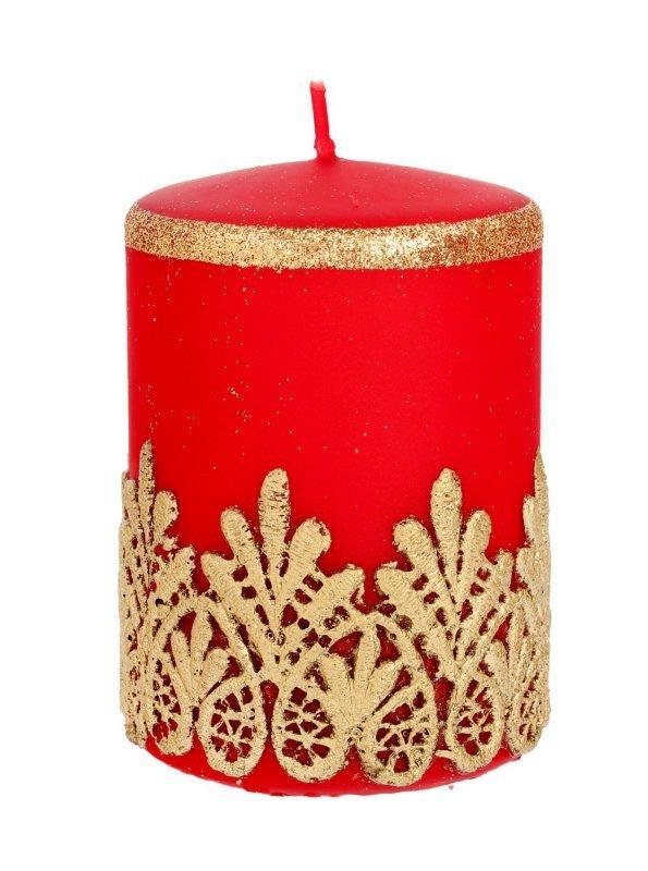 ARTMAN Boże Narodzenie Świeca ozdobna Koronka czerwona - walec mały 1szt