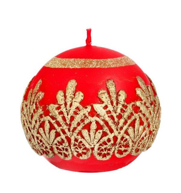 ARTMAN Boże Narodzenie Świeca ozdobna Koronka czerwona - kula mała 1szt