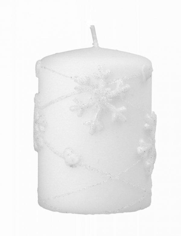 ARTMAN Boże Narodzenie Świeca ozdobna Snowflakes biały - walec mały 1szt