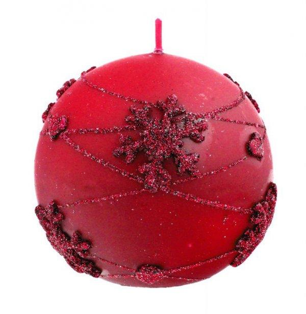 ARTMAN Boże Narodzenie Świeca ozdobna Snowflakes czerwona - kula mała 1szt
