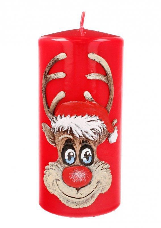 ARTMAN Boże Narodzenie Świeca ozdobna Rudolf czerwona - walec średni 1szt