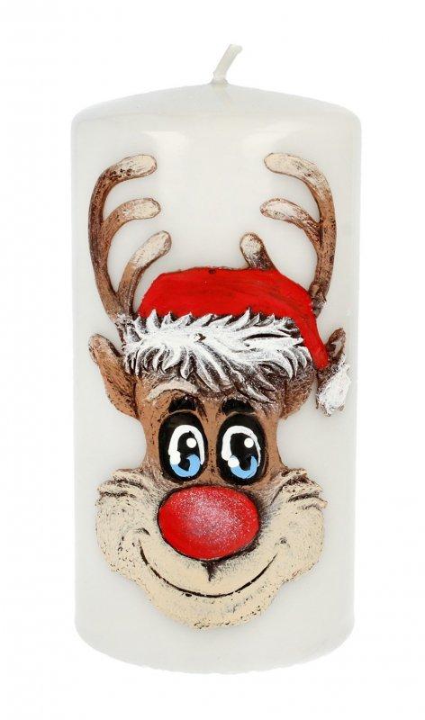 ARTMAN Boże Narodzenie Świeca ozdobna Rudolf szary - walec średni 1szt