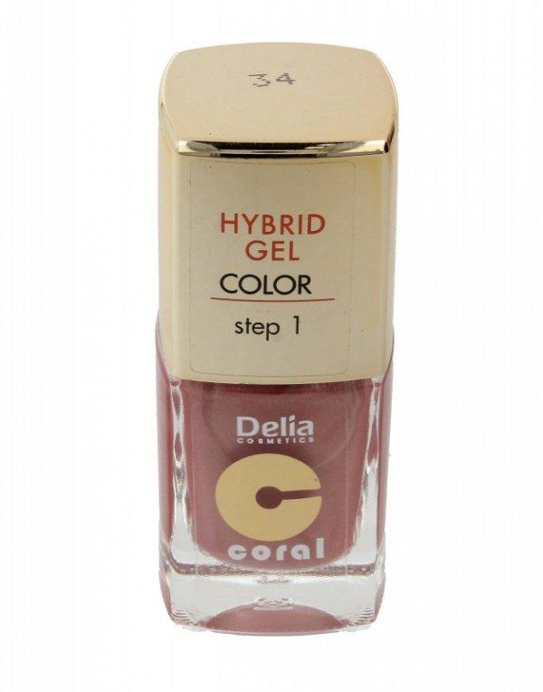 Delia Cosmetics Coral Hybrid Gel Emalia do paznokci nr 34 cielisty perłowy 11ml