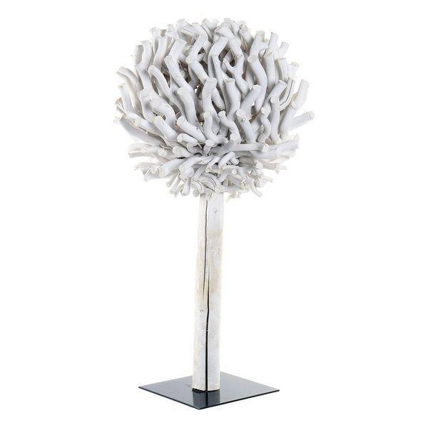 Dekoracja DKD Home Decor Drzewo Okrągły Biały Drewno